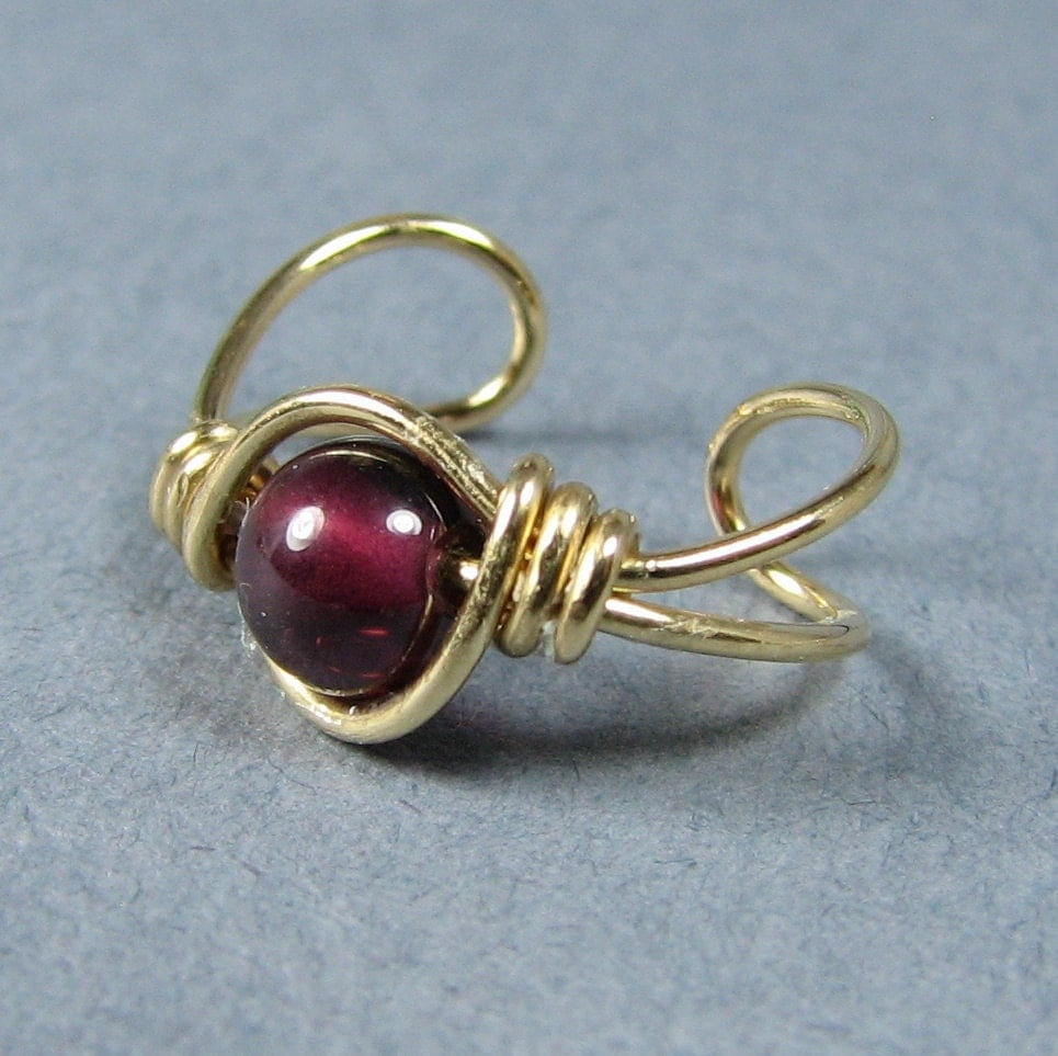 14k Gold Filled Ear Cuff Garnet Gemstone
