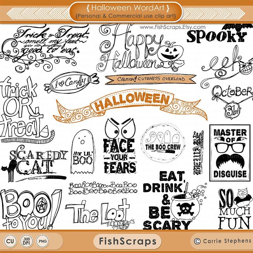 Halloween Clip Art - Word Art - Scrapbooking Titles - Photoshop ...