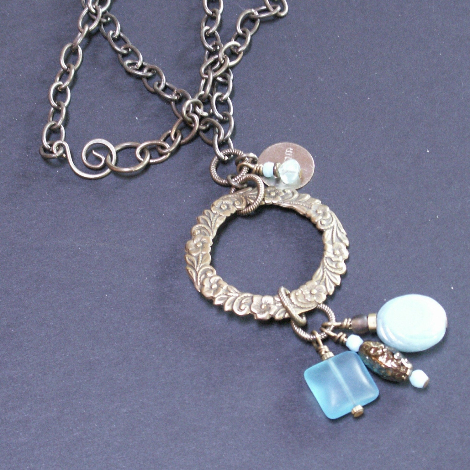 handmade jewelry necklace aqua brass chain glass beads