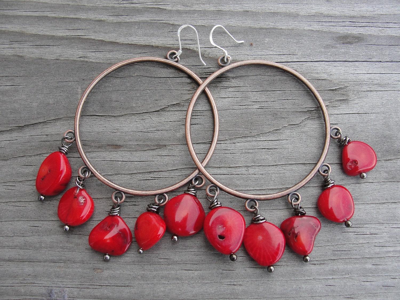Red Coral Copper Hoop Earrings