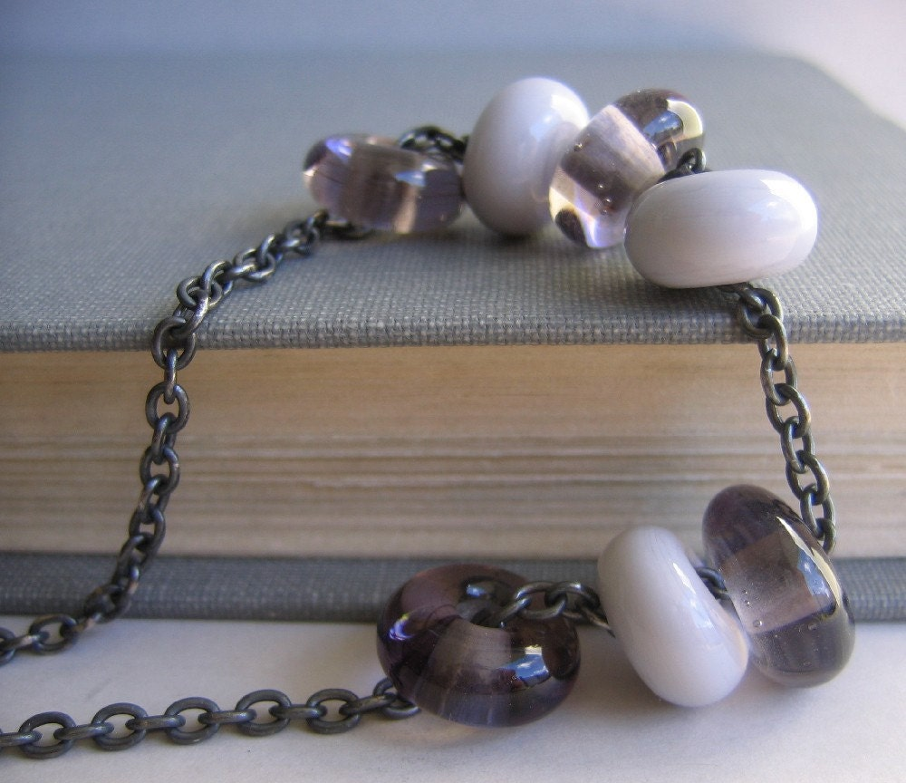 Platinum Grey Charcoal Glass Silver Necklace