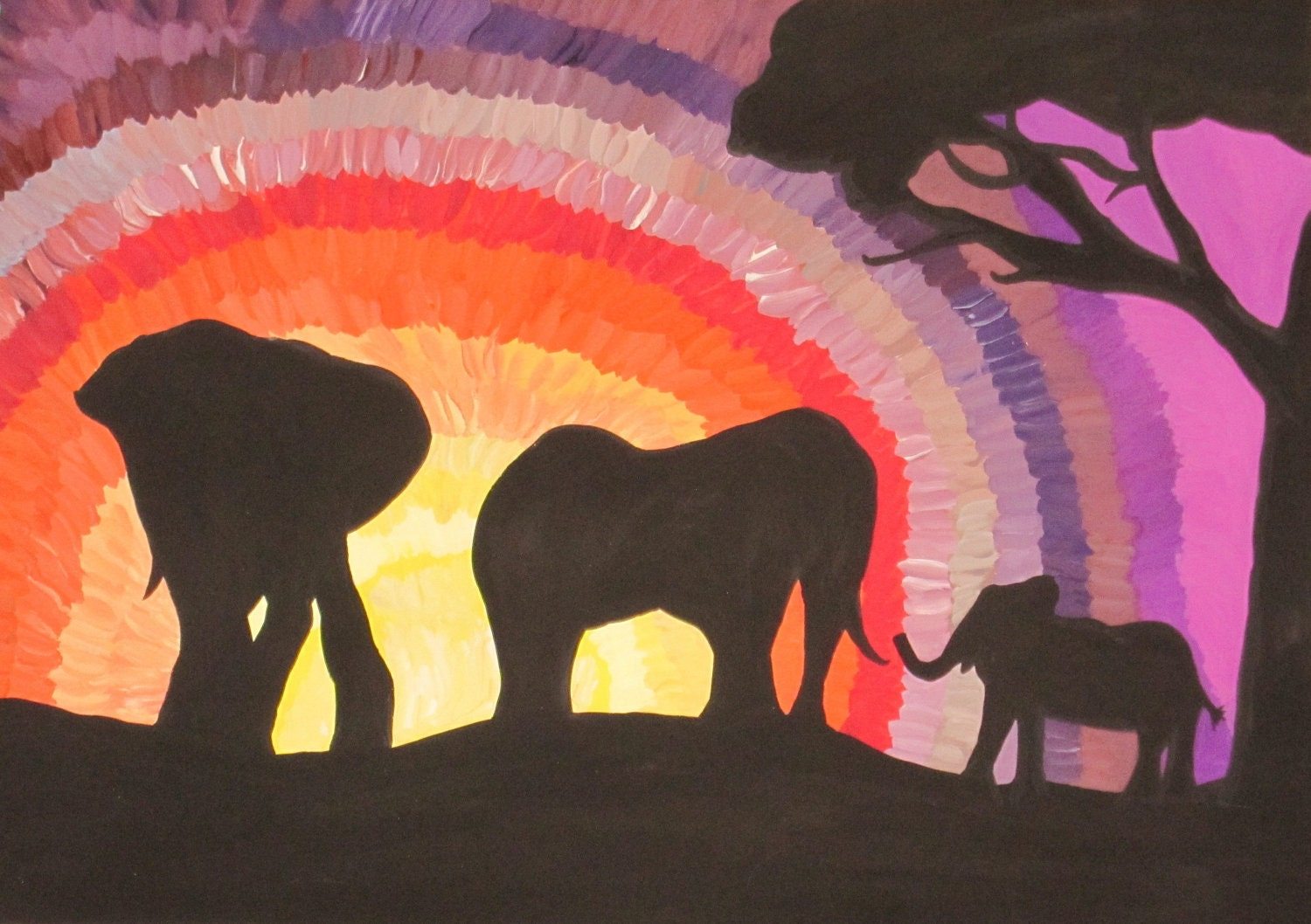 African Elephants at Sunset (Original Watercolour) - Kim.T 2011