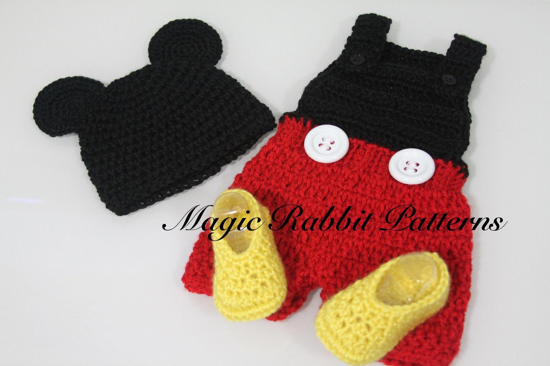 Free Crochet Pattern Mickey Hat : PDF PATTERN for Crochet Newborn Mickey Mouse Hat, Romper ...