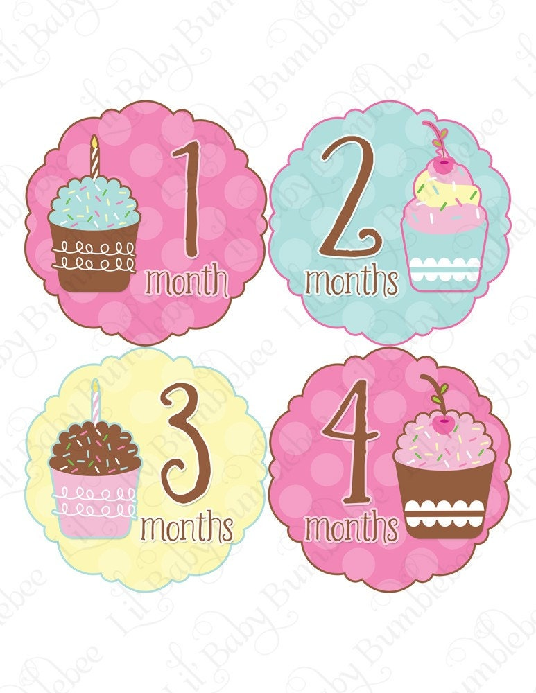 Monthly Onesie Stickers - Amelia - Cute and Whimsical Cupcakes