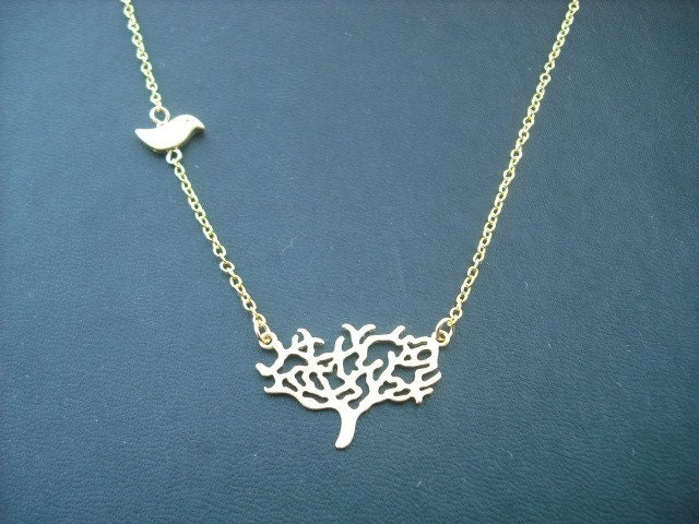 matte gold tree necklace