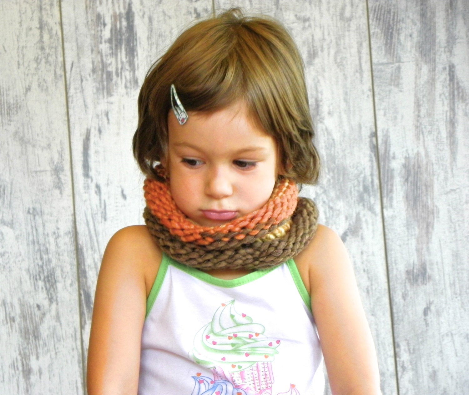Kids Wool Cowl, Brown and Mustard Toddlers Cowl, Woodland Cowl, Unisex 9 months 5 years - MondoRotondo