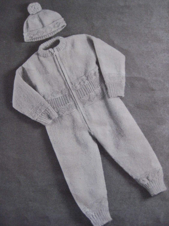 Baby Onesie Knitting Pattern : Vintage Knit Pattern Baby Onesie and by vintageknitcrochet on Etsy