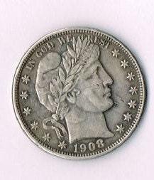US 1908 O Barber Half Dollar antique coin