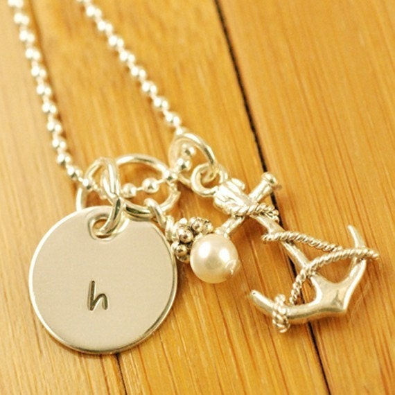 Sterling Silver Anchor -  Single Dainty Disc with Swarovski Crystal Pearl or Swarovski Crystal - Personalized Hand Stamped Necklace