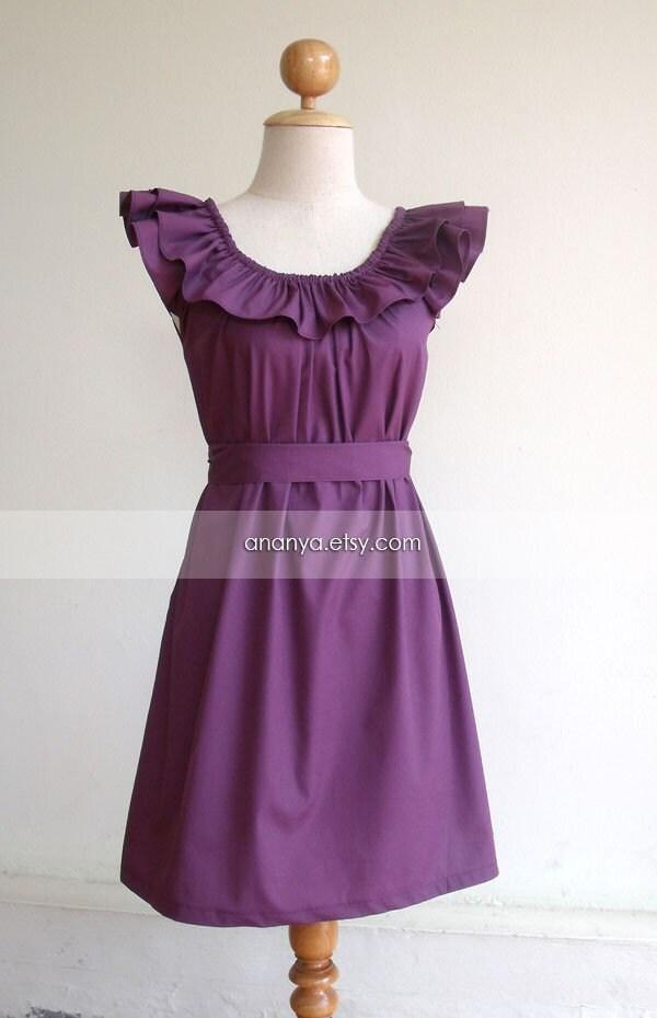 Custom made ruffled neckline purple dress with sash