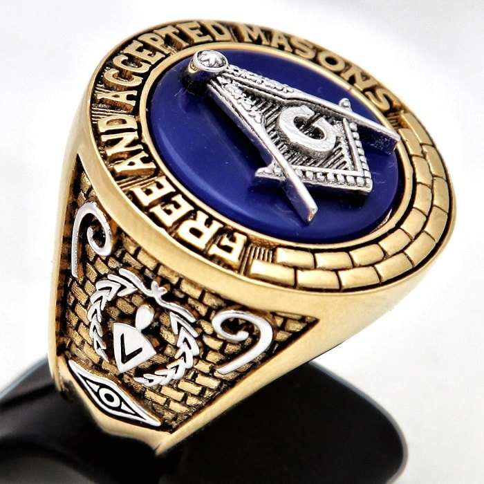 blue unique masonic ring 18kt white yellow gold by