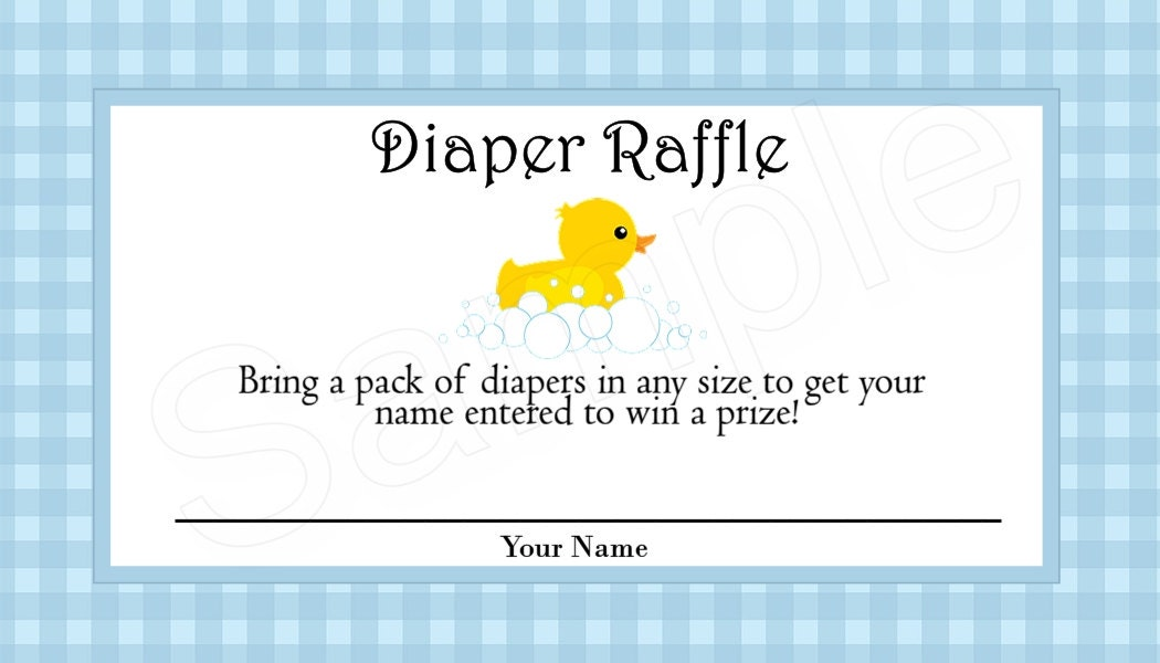 Rubber Duck Diaper Raffle Tickets Blue, Pink, or Purple (Digital File)
