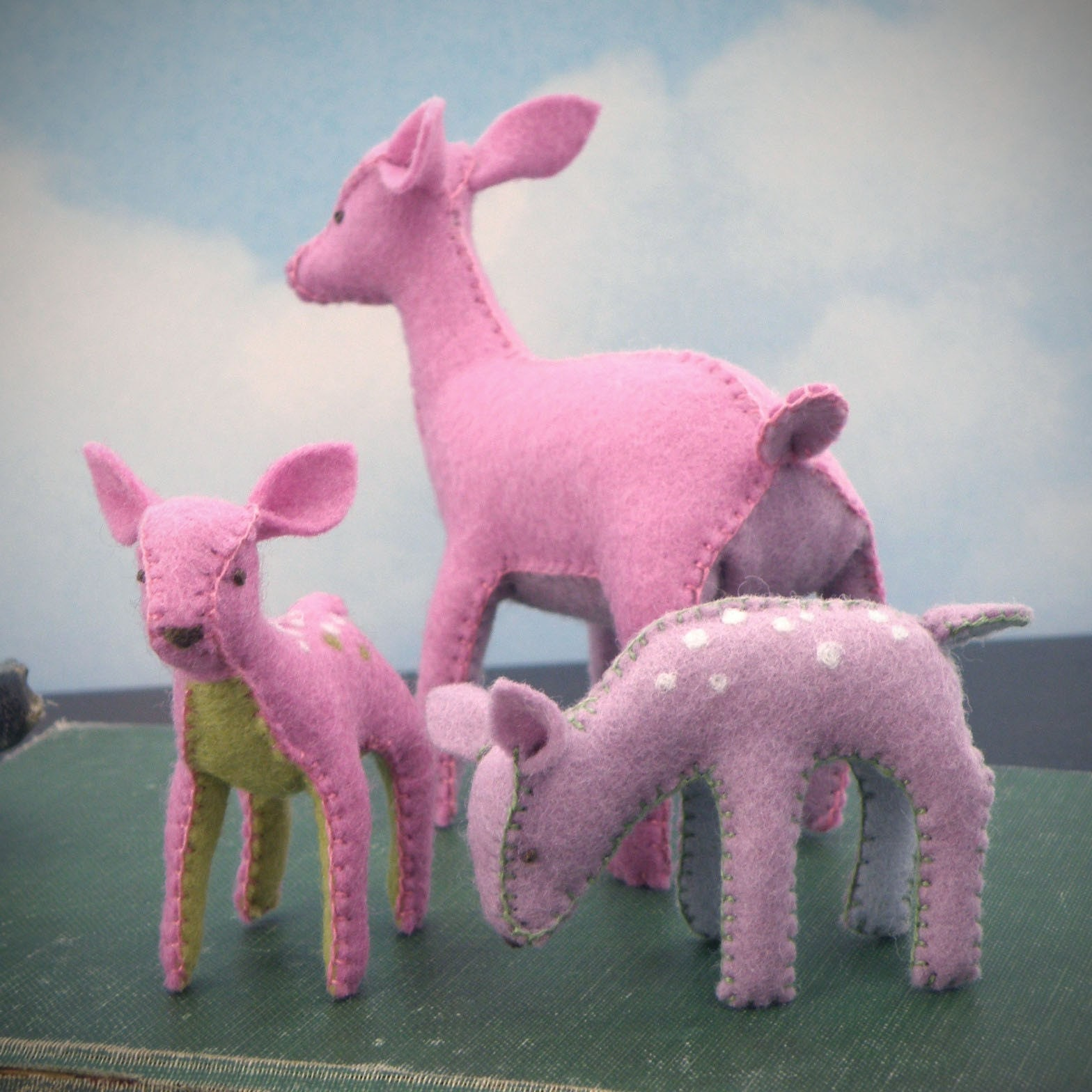 Deer family - made to order just for you - Tranquil herd of 4 deer in complimentary colors