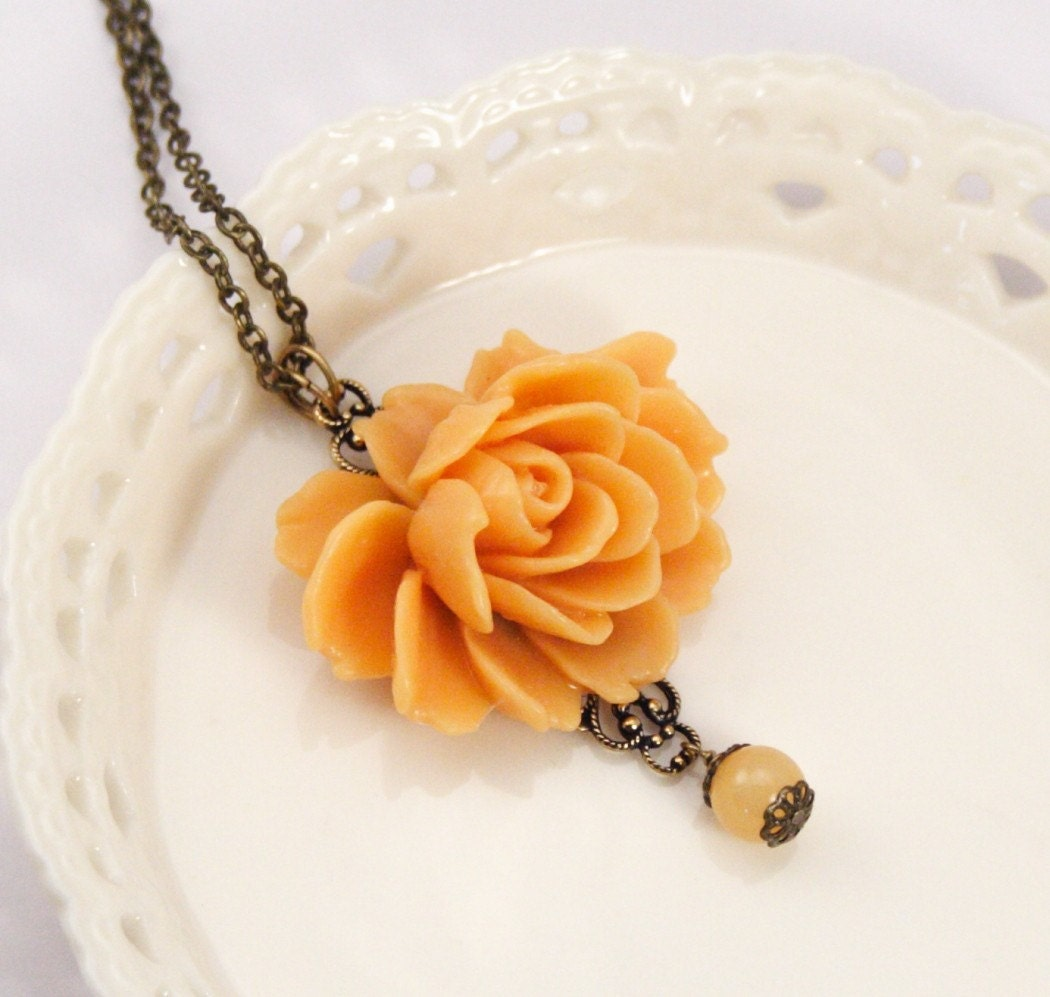 Collette Apricot Rose Necklace