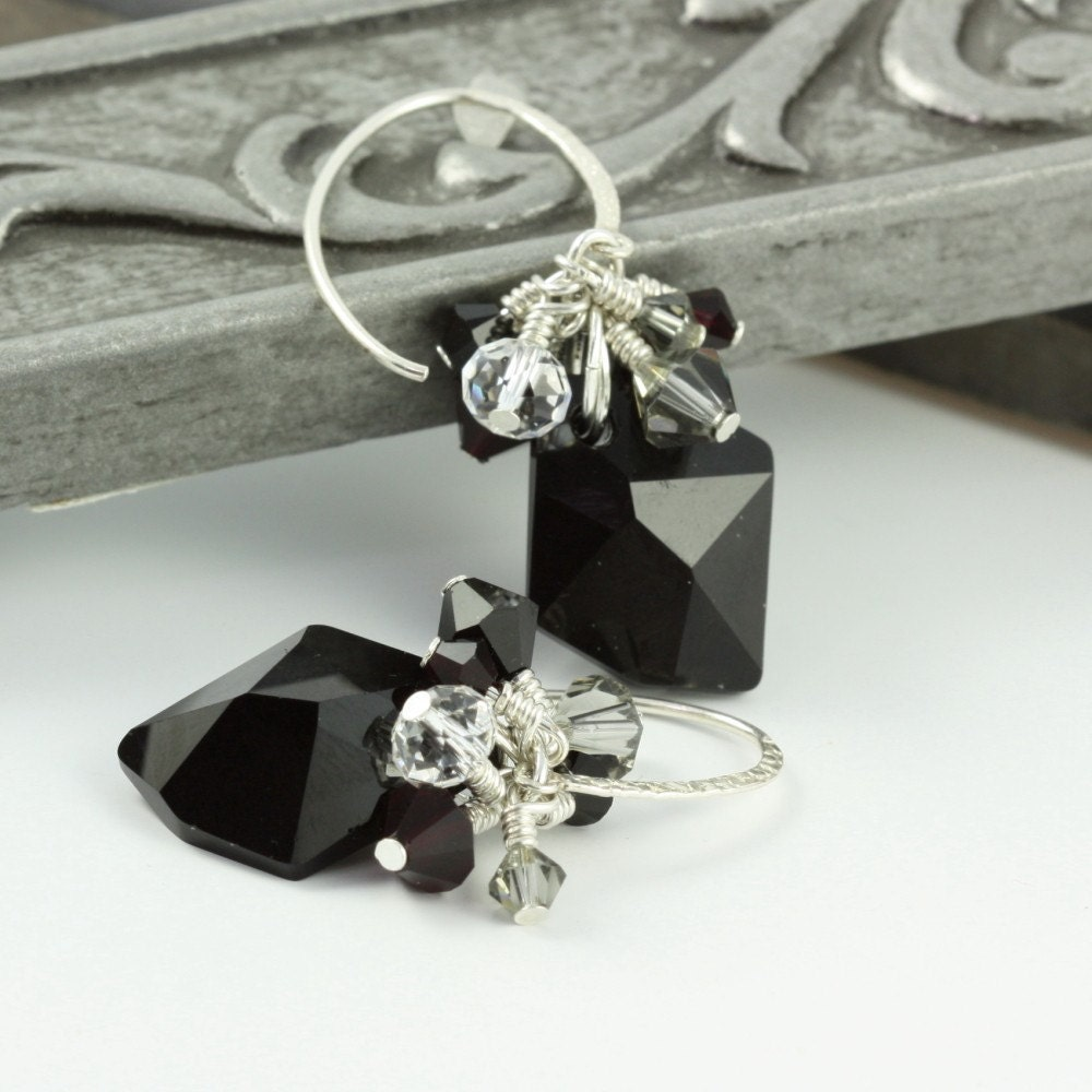 Jet Black Crystal Wire Wrapped Earrings by abacusbeadcreations from etsy.com