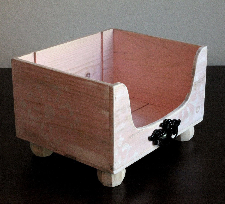 Pet Toy Box soft pink pet storage box by designercraftgirl on Etsy