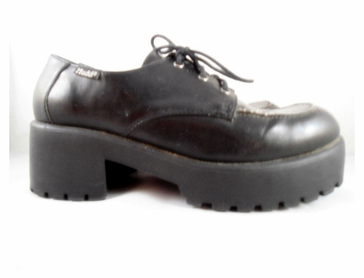 MUDD Black PLATFORM Tie Shoes - Size 9.5 Girls Womens Oxford - Chunky