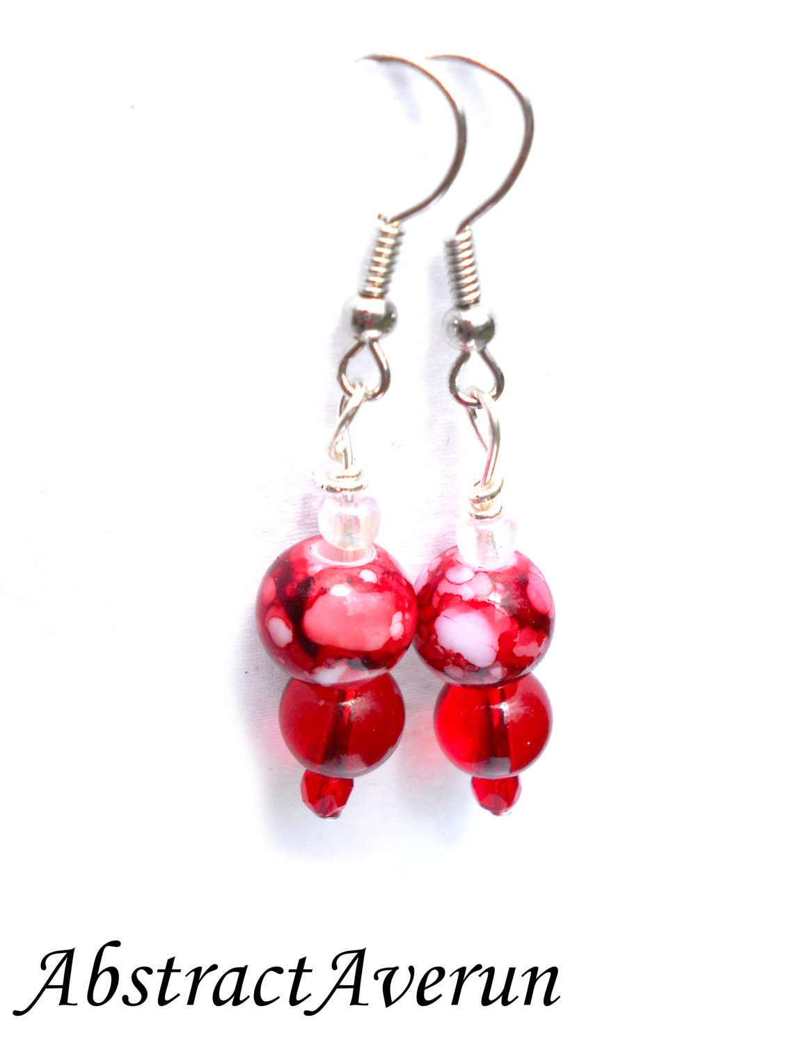 Dangle Earrings - Red, Beaded, Dangle Earrings