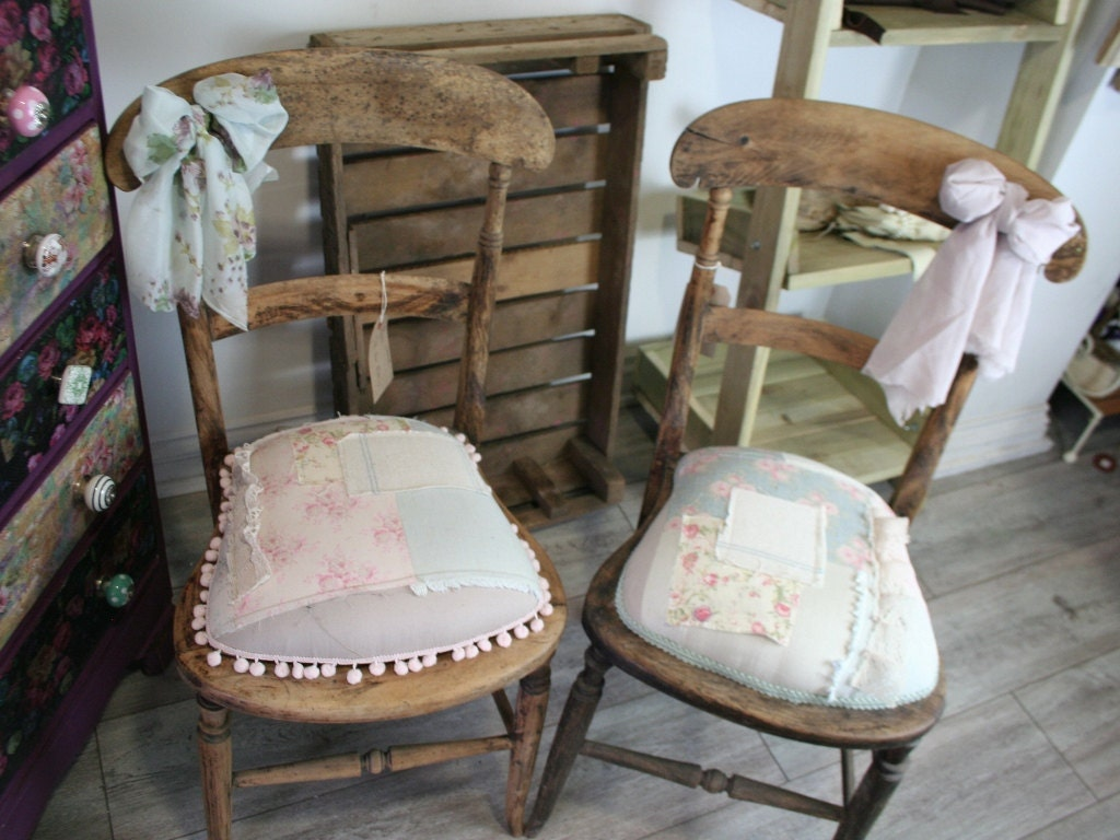 Shabby Chic Country Farmhouse Patchwork Chairs Primitive Bedroom Single or Pair