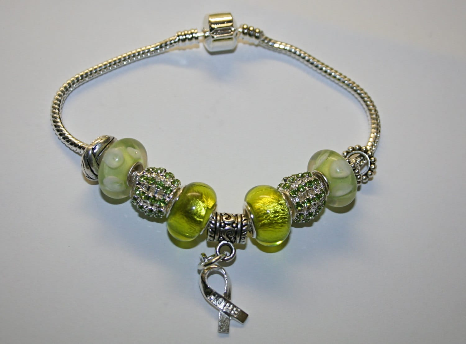 Lymphoma cancer lime charm bracelet by thesisters3boutique on etsy