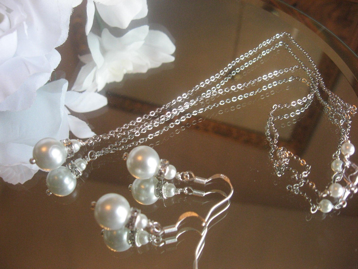 BRIDESMAID Gift Special - Pearl and Swarovski Rhinestone Silver Chain Necklace and Earring Set