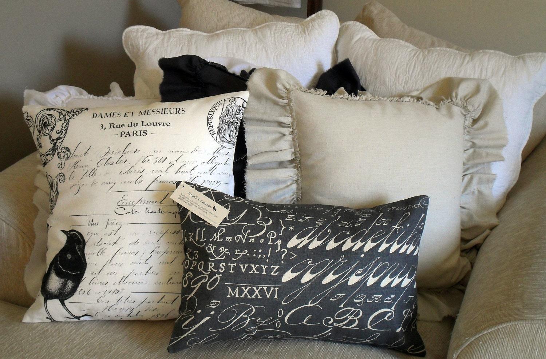 Chalkboard Slate Grey Script Pillow