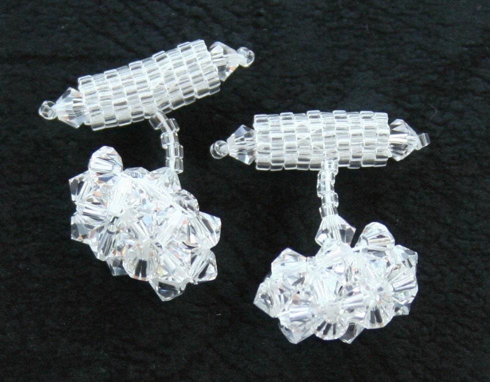 Sparkling Swarovski Crystal Cuff Links Beadwoven Elegance