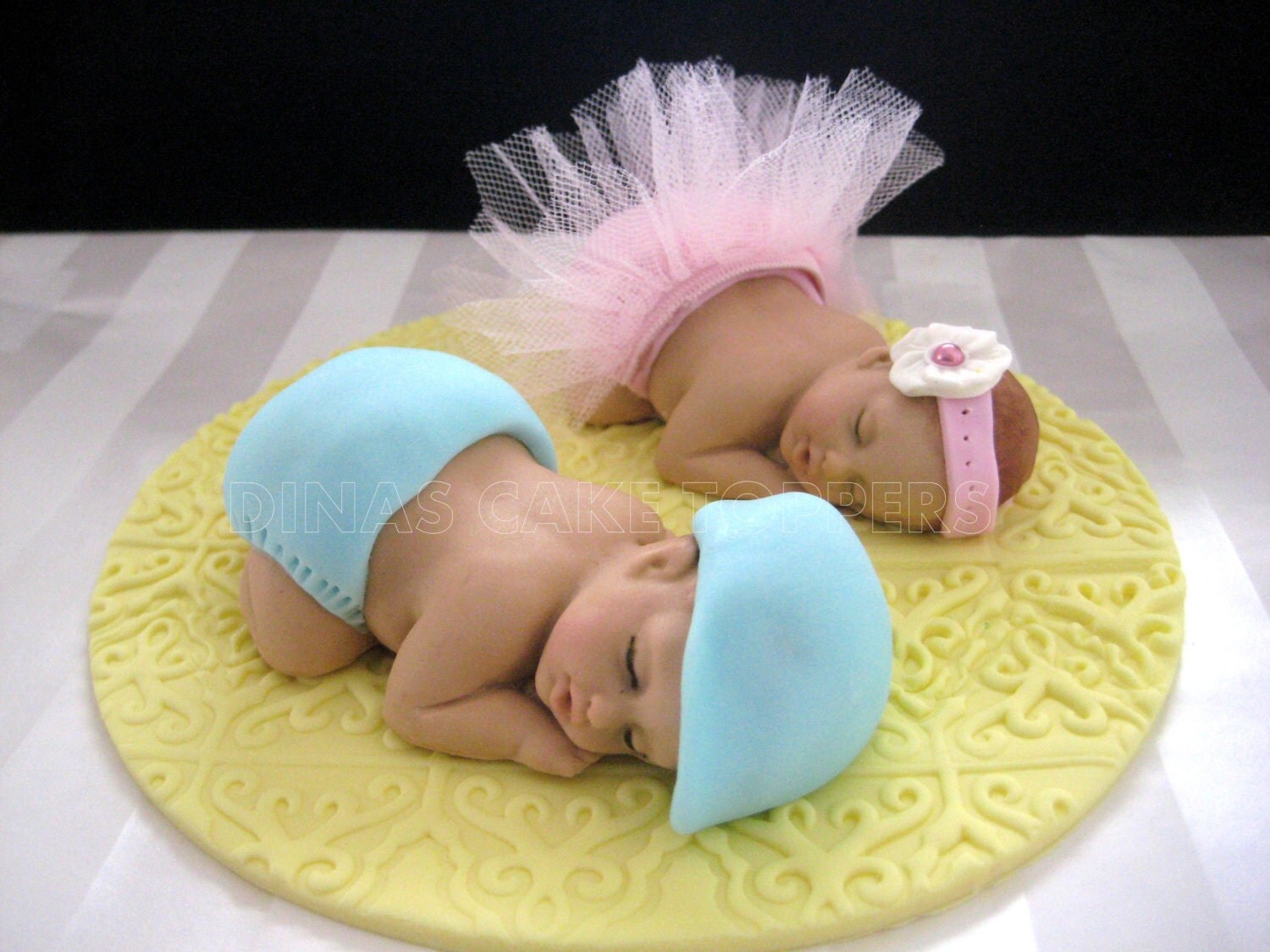 Cake Toppers Baby Girl : Twins Tutu Girl Boy Ballerina Cake Topper by DinasCakeToppers
