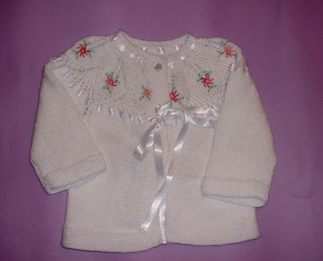 Newborn Baby Sweater Handknit Knitting  Knitted  White