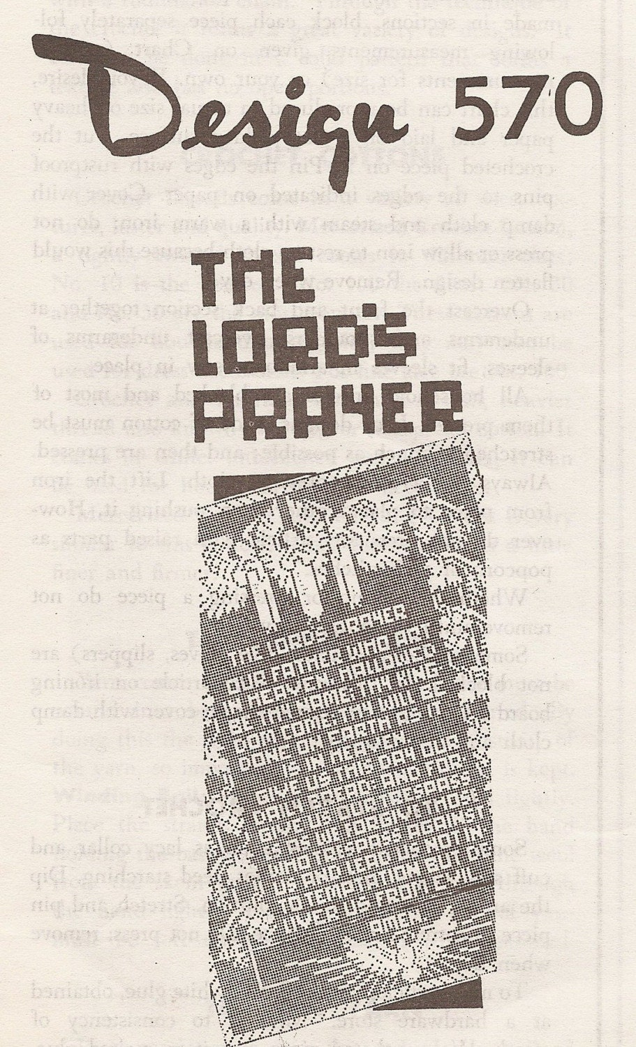 The Lord's Prayer In Filet Crochet Mail-order Pattern Original