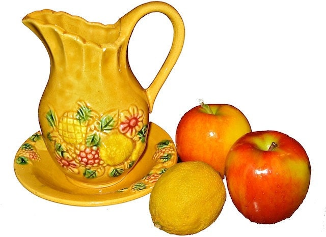Vintage Cottage Chic Japanese Pottery Pitcher w/Matching Plate-Whimsy Yellow w/Pineapple, Exotic Fruit & Flower Design-Home or Kitchen Decor