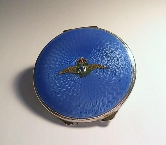 Rare sterling silver Art Deco R A F guilloche powder compact silver compacts for sale RAF antique powder compact deco compact for sale.