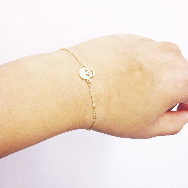 Gold Skull Bracelet, Dainty Bracelet, Minimalist Jewelry