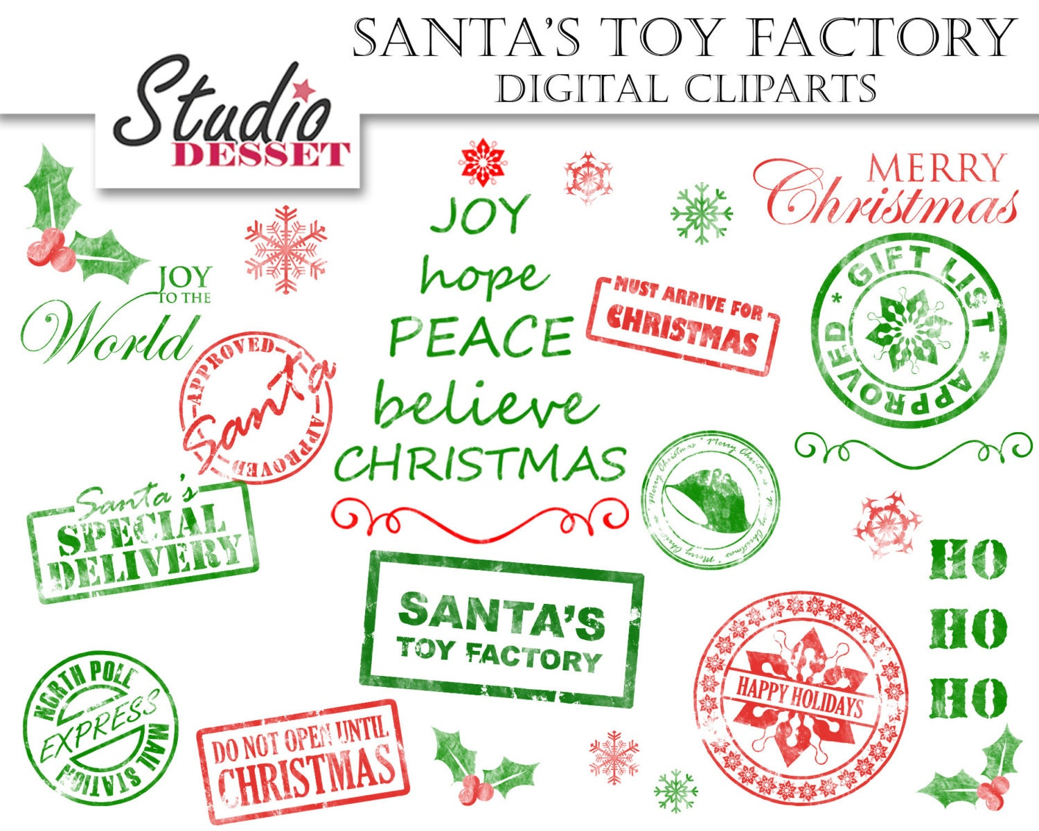 Christmas Stamps Clipart Holidays Wordart Digital By