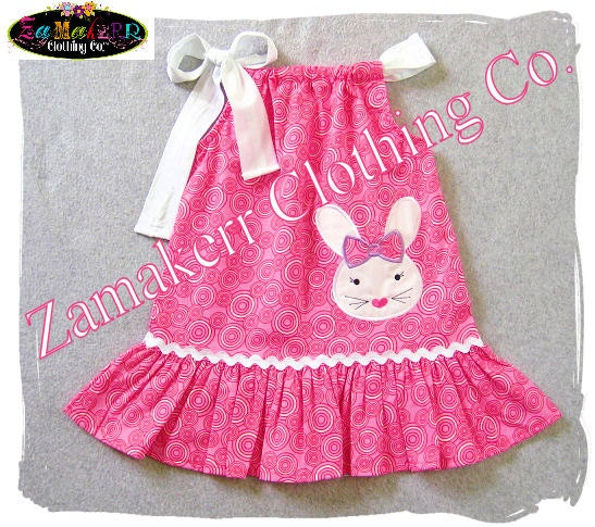 Girl PINK Easter Dress Easter Bunny by ZamakerrClothingCo