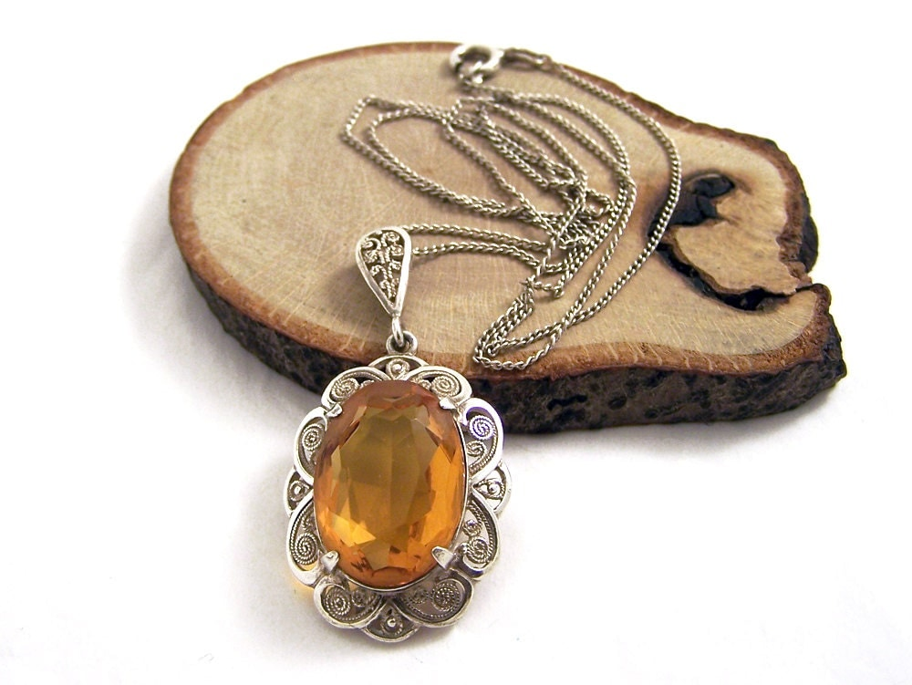 Vintage Amber Glass Necklace Silver Amber Necklace Silver Filigree Necklace Oval Silver Necklace 20 Inch Necklace WN Necklace Germany