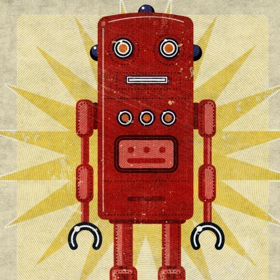Ted Box Art Robot Print 8 in x 10 in