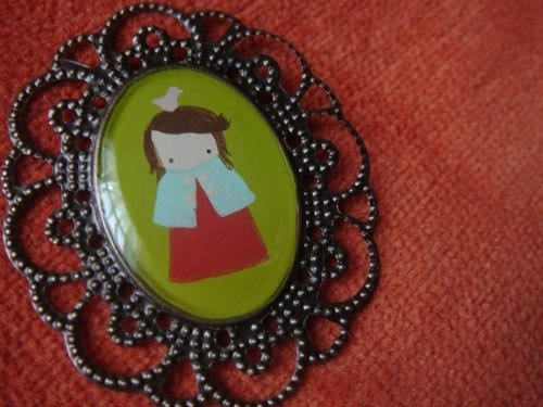 Girl and Bird Cameo - hand painted