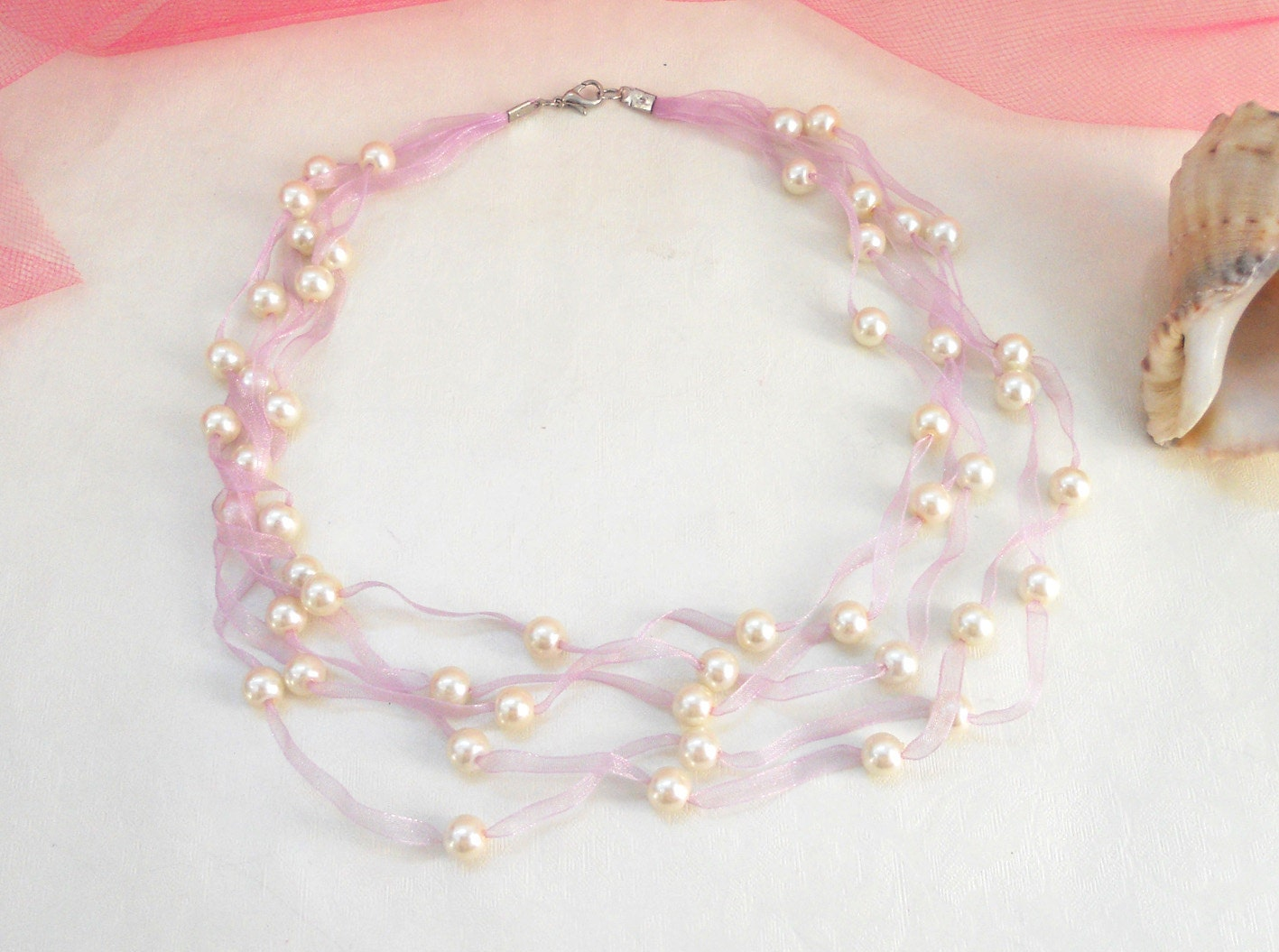 Pearl necklace - wedding - bridal - elegant - asteriascollection