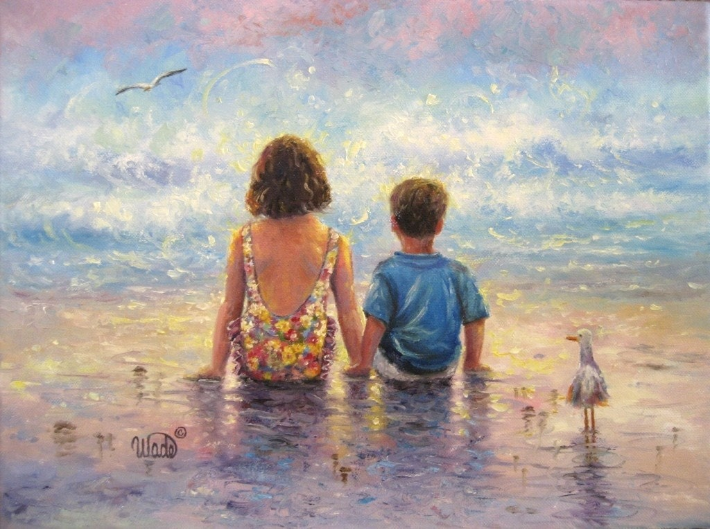 Side by Side - Large Matted Print - boy and girl at the beach - Buy 2 Get 1 FREE - Vickie Wade prints