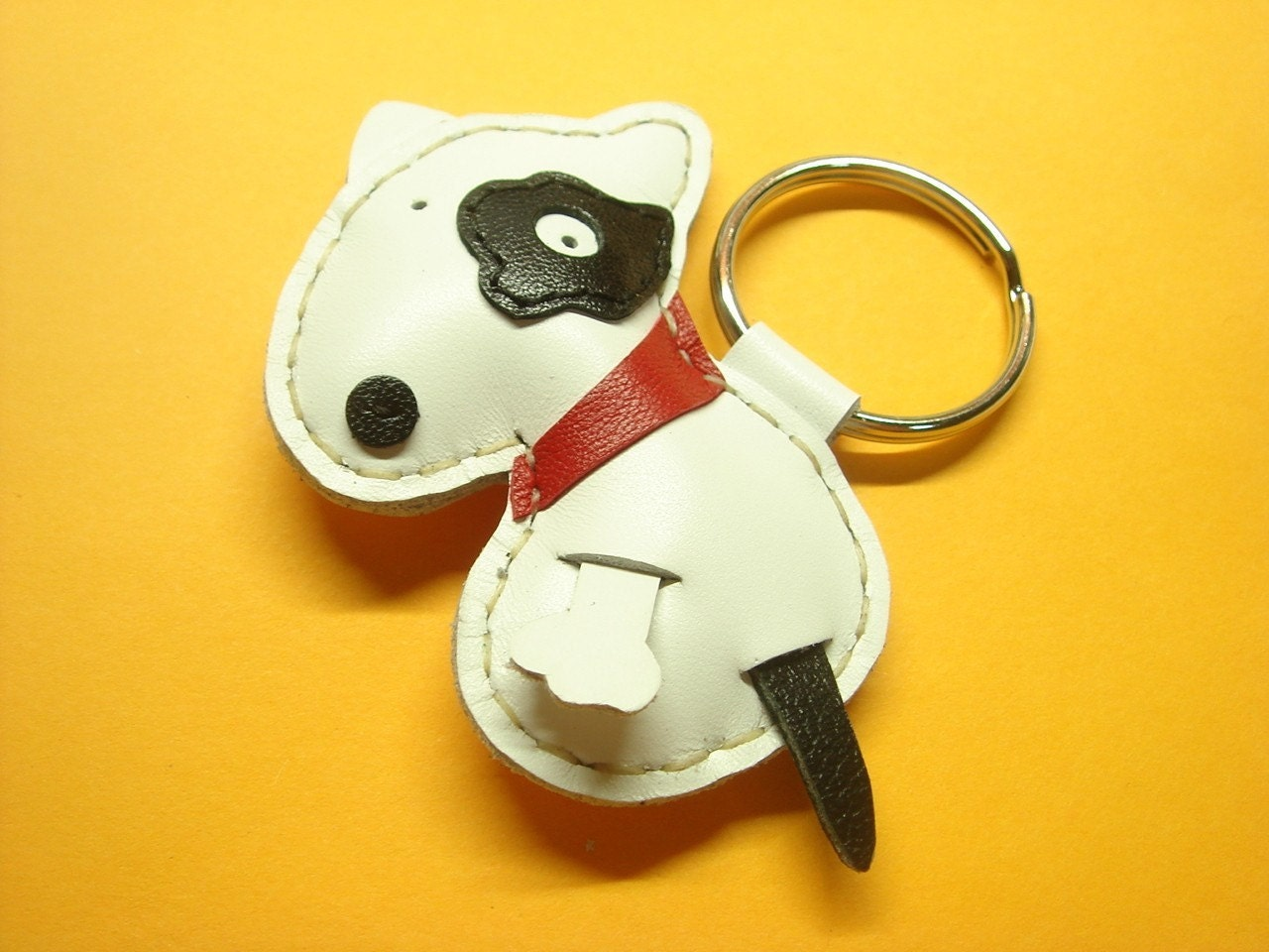 VW the Bull Terrier Leather Keychain ( White )