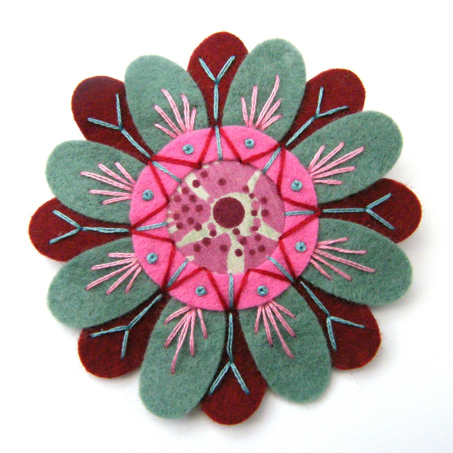 FELT AND FABRIC FLOWER BROOCH WITH FREEFORM EMBROIDERY