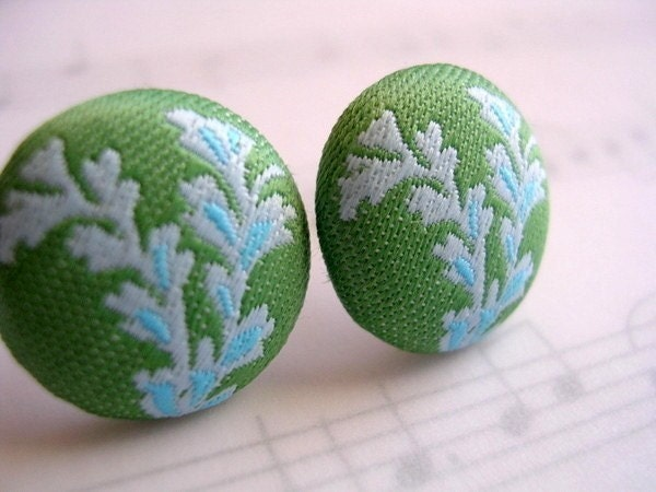 Amy Butler Blue and Green Fields Post Earrings  by UptownAvenue