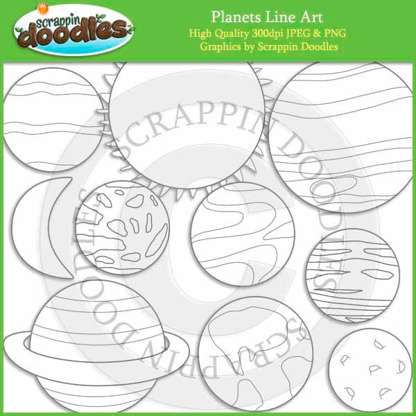Line Art Etsy : Planets line art by scrappindoodles on etsy