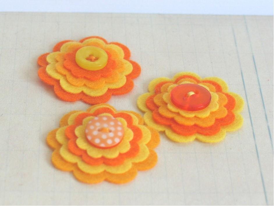 Апельсиновый сок - Набор из 3 ручной работы оранжевого и желтого цветов слоистых Войлок