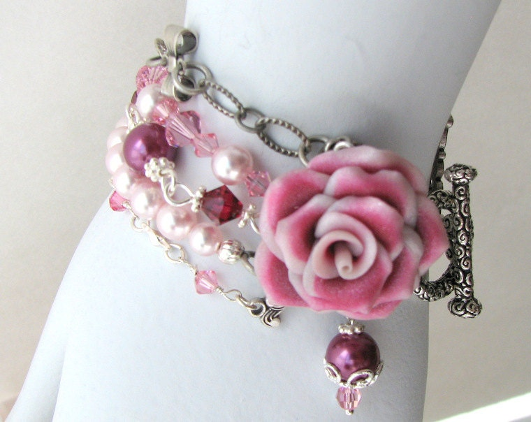 Bridal or Maid of Honor Bracelet - Pink Bracelet - Vintage Inspired With Pearls and Crystals - Lillian Rose Bracelet - Made-to-Order - catesemporium