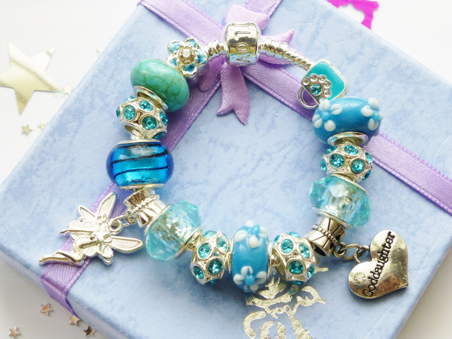 Godddaughter charm bracelet blue pink green lilacchoice with fairy  all charms choose color  size