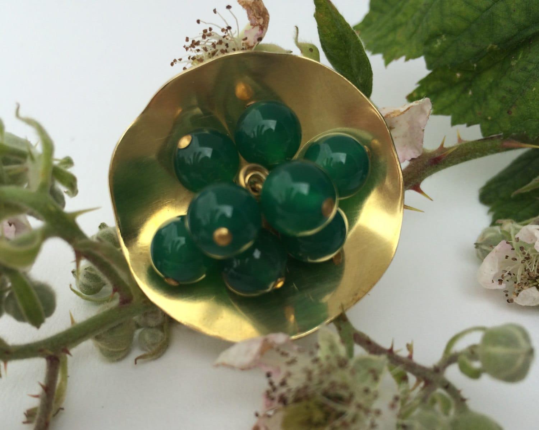 Handmade CocktailStatement Ring  Brass with Green Agate Gemstones and Va Va Voom