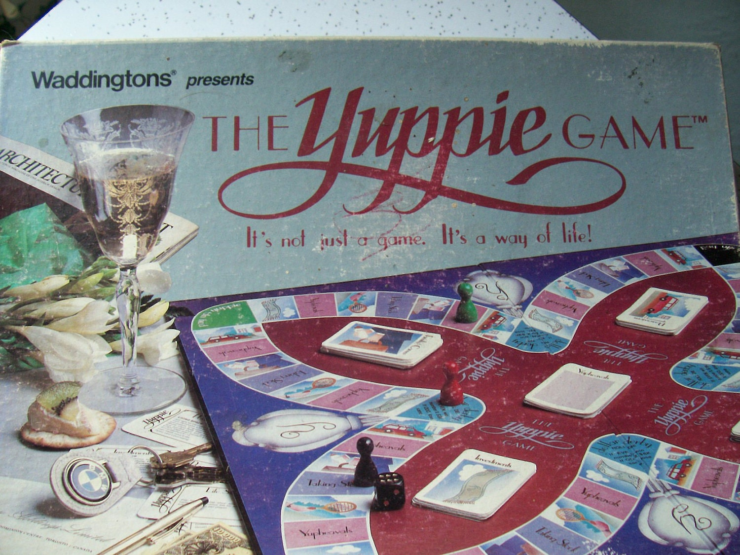 vintage 1980's board game,  The Yuppie Game 1985, money property game, pittsburgh