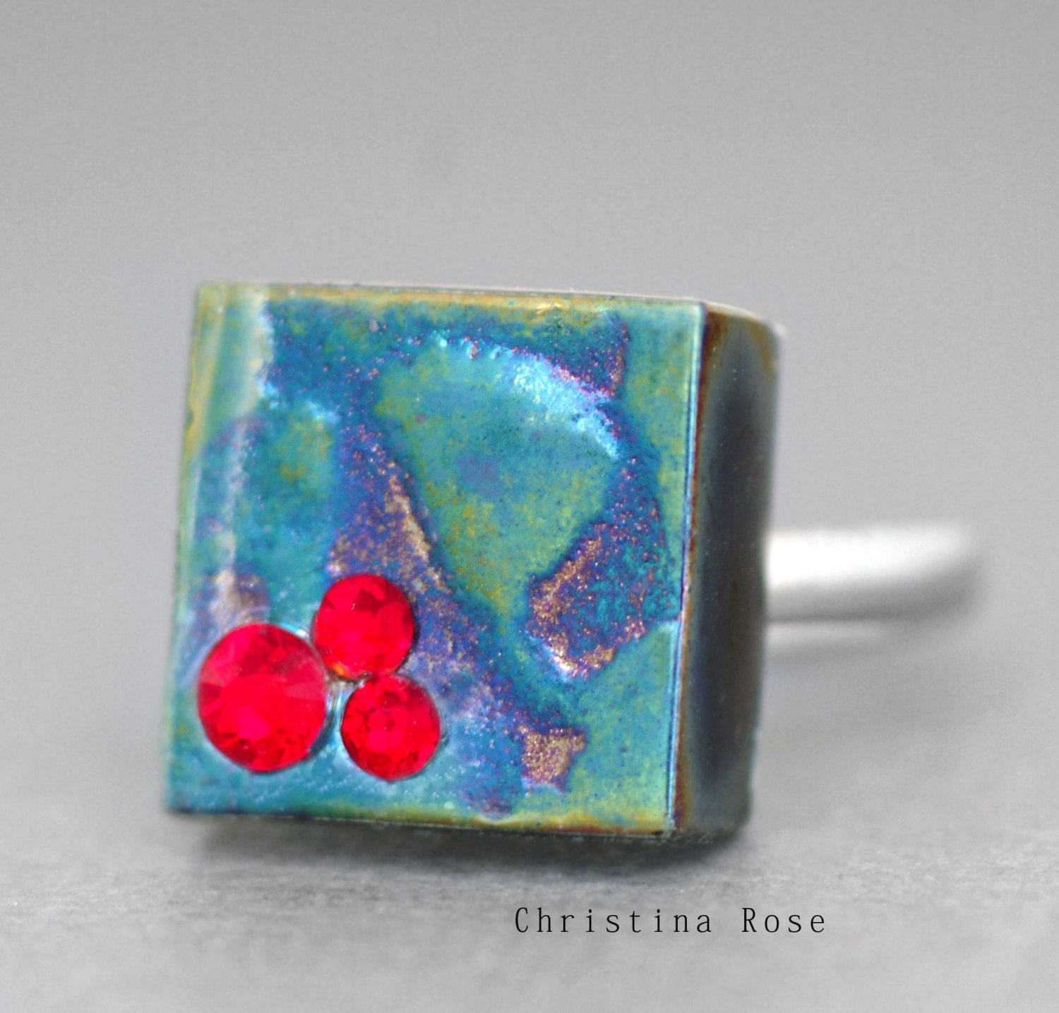 Titanium Metallic Cube Fire Turquoise, Rocket Red & Plum On Silver Band Adjustable 5-9 OOAK no5 - ChristinaRoseJewelry